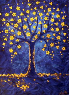Tree Of Life Painting Large Size by ArtonlineGallery on Etsy, $170.00. Pretty. Love the glow of the flowers on the tree