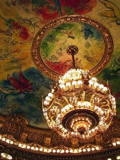 this one is on my art bucket list: chagall's ceiling in the paris opera house
