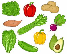 Vegetables Clip Art Cute Veggies Clipart 2 Digital by YarkoDesign, $3.49