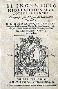 Esta foto es el cubertor del primer libro de Don Quijote de la Mancha en el año 1605 en la cual fue publicado.