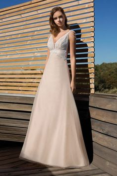 909605f00f5b Metropolitan Collection - Wedding Dress Style   Chantilly lace and shoulder  pearls create this flowing