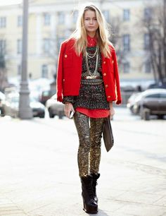 Moscow Street Style - Maria Mini Chanel jacket, from Bali top, Vlieger Vandam bag, Vintage trousers, Acne boots.