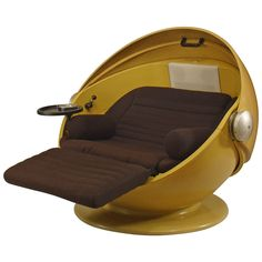 Rare and Unusual 1969 German Futuristic Spherical Chaise by Ris and Selldorf | From a unique collection of antique and modern chairs at https://www.1stdibs.com/furniture/seating/chairs/