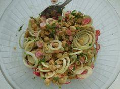 Salade de pois-chiche: Pour cette salade rapide, des pois-chiche bien sur, mais également des oignons nouveaux, des radis et de la coriandre hachée.
