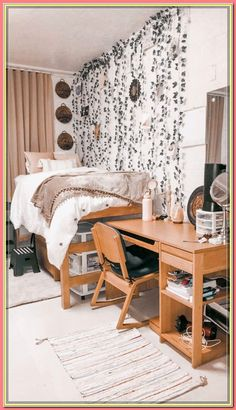 College dorm room Boho Pink Brown Greenery College C. College dorm room Boho Pink Brown Greenery College College Dorm Rooms B College Bedroom Decor, Boho Dorm Room, Cool Dorm Rooms, Room Ideas Bedroom, College Dorm Rooms, Indie Dorm Room, Pink Dorm Rooms, Bedroom Ideas For Small Rooms, Boho Teen Bedroom