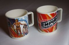 Star Wars-The Empire Strikes Back 2 Mugs Deka 1980 Yoda, C3PO, R2D2, Chewbacca #Deca