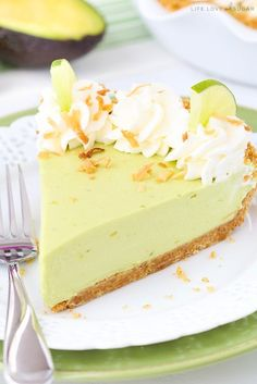 """This post is sponsored by the California Avocado Commission, but all opinions are my own. This Avocado Key Lime Pie is wonderfully creamy and perhaps the best key lime pie I've ever had (big statement!). It's also the perfect dessert centerpiece for a """"Dinner En Green"""" party celebrating delicious California avocados! Have you ever heard …"""