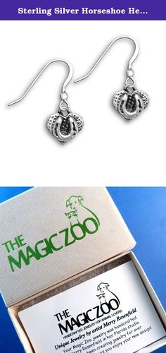 "Sterling Silver Horseshoe Heart Earrings by The Magic Zoo. Wearing this lovely pair of sterling silver horseshoe and heart earrings shows the world you are a horse lover! Since the heart shape is a world-wide symbol of love, what a perfect way to honor a beloved equine friend! Each heart design is 3/8"" tall by 1/2"" wide and comes on sterling silver French wires."