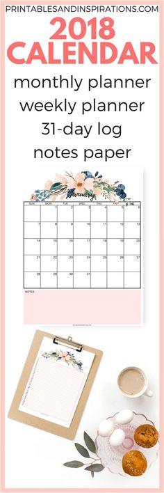 pretty 2018 calendar | free monthly planner | free printable calendar and weekly planner | floral calendar