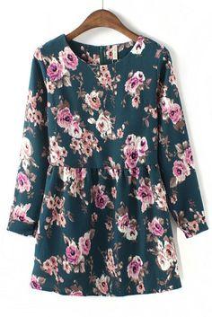 Vintage Floral Chiffon Dress $33
