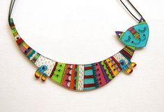 Cat necklace by lacravatteduchien on Etsy, €45.00
