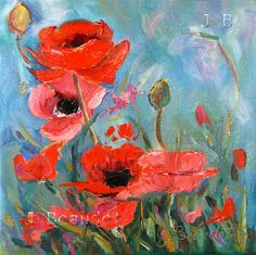Poppies painting Original Floral Modern by JBeaudetStudios on Etsy, $75.00