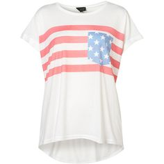 USA Pocket Tee (53 AUD) ❤ liked on Polyvore featuring tops, t-shirts, shirts, blusas, tees, polyester t shirts, pocket shirts, polyester shirt, tee-shirt and white shirt