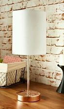 COPPER TABLE LAMP WHITE SHADE ROSE GOLD BEDSIDE LIGHT METALLIC NEW