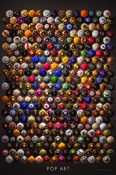 Champagne and sparkling wine bottle caps in this award winning art print. Celebration worthy bar wall art for the champagne or wine lover!