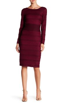 Sangria Crew Neck All Over Pattern Dress