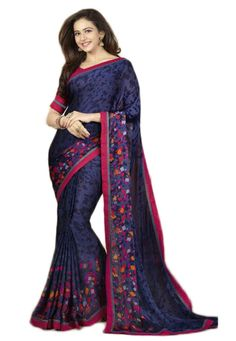 Blue Weightless Saree With Blouse....  Blue Weightless Saree designed with Printed Work. As shown Pink Dhupian Blouse fabric is available....  INR: 830.00  With Exclusive Discounts