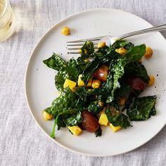 Curried Chickpea and Kale Salad with Cheddar and Grapes Recipe on Food52 recipe on Food52