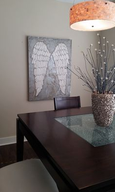 Excellent Hand painted angel wing canvas,angel wing original painting  XJ45