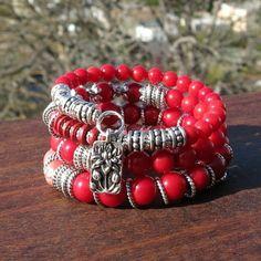 pulseras-de-moda-piedras-preciosas-rojas-decoración-flor-de-loto