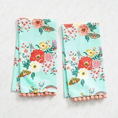 Mint Floral Tea Towels