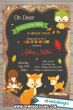 Custom Woodland Animals Baby Shower Invitations - Deer Baby Shower Invitations - Fall Baby Shower: Ekwebdesigns