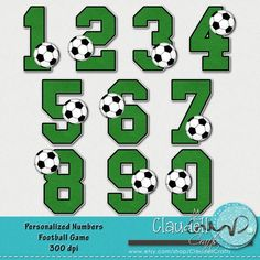Football Soccer Game Clipart Alphabet 300 DPI by ClaudellCrafts Soccer Theme, Soccer Art, Soccer Games, Football Soccer, Soccer Birthday Cakes, Football Birthday, Boy First Birthday, Soccer Treats, Personalized Football