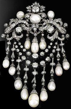 Pearl and diamond devant de corsage, circa 1850. The Property of H.S.H. Prince Carlo Della Torre ...