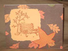 Handmade card, Fall leaf covered bench.