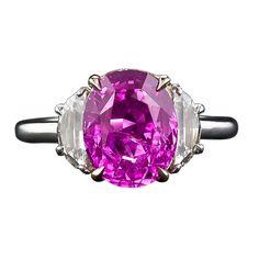 1stdibs.com | 3.93 Carat Pink Sapphire and Diamond Ring