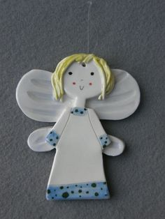 Ceramic Angel ornament Guardian angel blue by TatjanaCeramics, $6.50