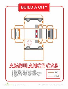 Worksheets: Build a City: Ambulance, this site has all kinds of buildings and cars to Build a city...cool