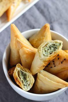 Vegan Spinach & Artichoke Stuffed Spanakopita Triangles