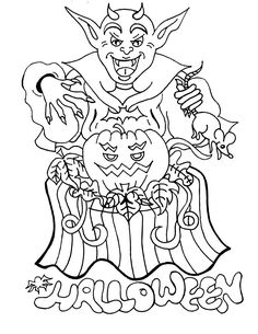 Goblin Sorcerer Halloween Coloring Pages For Kids Printable