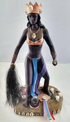 12 Inch Statue Orisha OYA Santeria Lucumi Estatua Yoruba Saint: Approximately 12 inches high Made out of resin and Hand Painted African Mythology, African Goddess, Afro, Voodoo, Oya Orisha, Yoruba Religion, Yoruba People, Caribbean Culture, Warrior Queen