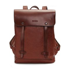 c95cc01172 Men Women Vintage Backpack PU Leather Laptop bags School Bag