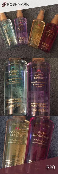 Victoria's Secret Perfume 4 unused Victoria's Secret perfumes. Perfect stocking stuffers! 🎁 scents include love spell, aqua kiss, coconut passion, and pure seduction! They are 2 oz. each! Victoria's Secret Other