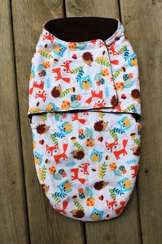 Baby Swaddle Wrap bag snuggle blanket sack Fox woodland critters animals orange blue brown Flannel Cotton newborn velcro warm soft swaddling on Etsy, $32.00