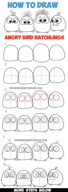 Learn How to Draw Angry Bird Hatchlings Baby Birds - Step by Step Drawing Tutorial