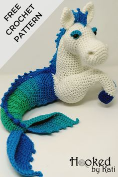 Murdock the KelpieFree Kelpie amigurumi crochet pattern! Also called a water horse, merhorse, or hippocampus, this fantasy creature hails from the lochs of Scotland. Hooked by Kati This amigurumi pattern features short row or short rounds to natura Crochet Animal Amigurumi, Crochet Gratis, Crochet Animal Patterns, Stuffed Animal Patterns, Cute Crochet, Crochet Animals, Crochet For Kids, Crochet Dolls, Knit Crochet