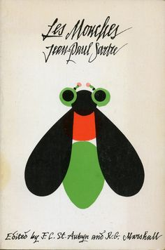 The Flies  Cover of a 1963 edition of Les Mouches by Jean Paul Sartre.  Found here. ( vintage book cover / graphic design / bug bee / moth )