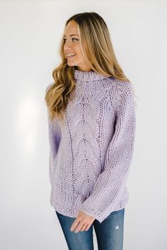 0d9106eed8f The chunky cable knit sweater in lilac Thick Sweaters