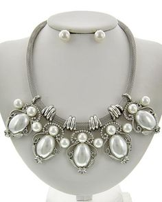 Vintage Pearl and Silver Necklace & Earrings Set