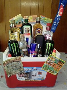 Made by yours truly!! Vee Vasquez : ) 1st man gift basket everrr filled eith his favorite stuff!! ;)
