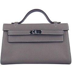 d99ba6206fa8 Hermes Kelly 22 CM Grey Handbag France Leather H008 Hermes Birkin
