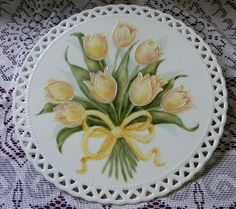 Yellow Tulips on Porcelain tile.  Hp by Priscilla.....sold