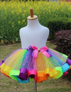 Handmade rainbow tutu with diamante sparkles
