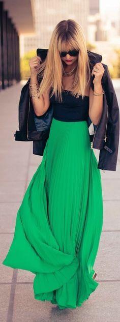 Spring fashion | Leather jacket, maxi dress