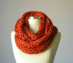 Knitted Cowl Scarf Neck Warmer Terracotta Handmade by yarnisland