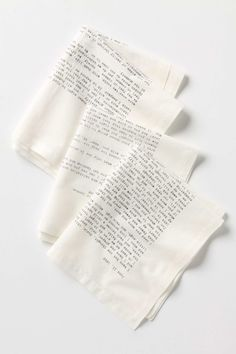 Text from letters written by some of the world's best-known authors is screenprinted by hand onto these soft sateen napkins. Now you can enjoy the company of Jack London, Emily Dickinson, D.H. Lawrence and Mark Twain at your very own dinner table.  Set of four